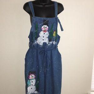 VTG Christmas Denim Overalls Snowman Theme OOAK Md